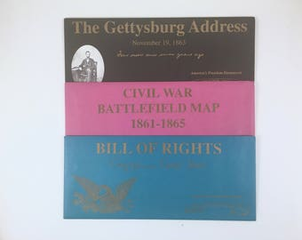 Civil War Battlefield Map, Bill of Rights, Gettysburg Address, Vintage America's Freedom Documents, Facsimile Documents, Gettysburg, PA