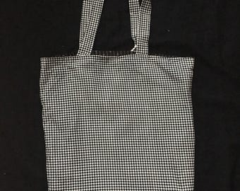 Black and white small checked  reversible tote