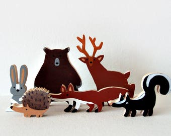 The Forest - Forest Animals Waldorf Animal Toys, wood toys, natural animal toys, natural toys, six forest animals pack, forest animals