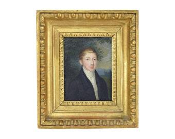 Antique Jane Austen Era Miniature Watercolor Painting Portrait Handsome Gentleman