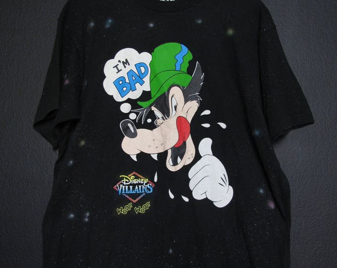 Disney Villains Bad Wolf I'm Bad Woof Woof 1990s vintage Tshirt