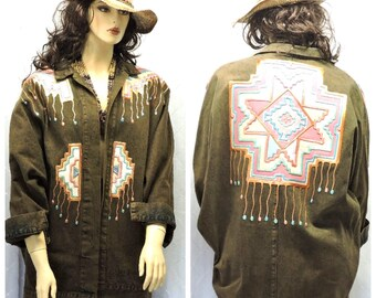 Boho denim jacket L XL vintage 80s wearable art  acid washed Santa Fe denim coat southwestern jean coat L Xl SunnyBohoVintage