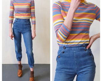 Retro XS Light Wash 1970s High Waisted Trousers with Fitted Ankle Cuff and Button Features, Retro Style, Distressed Hip Hugger, Women's Pant