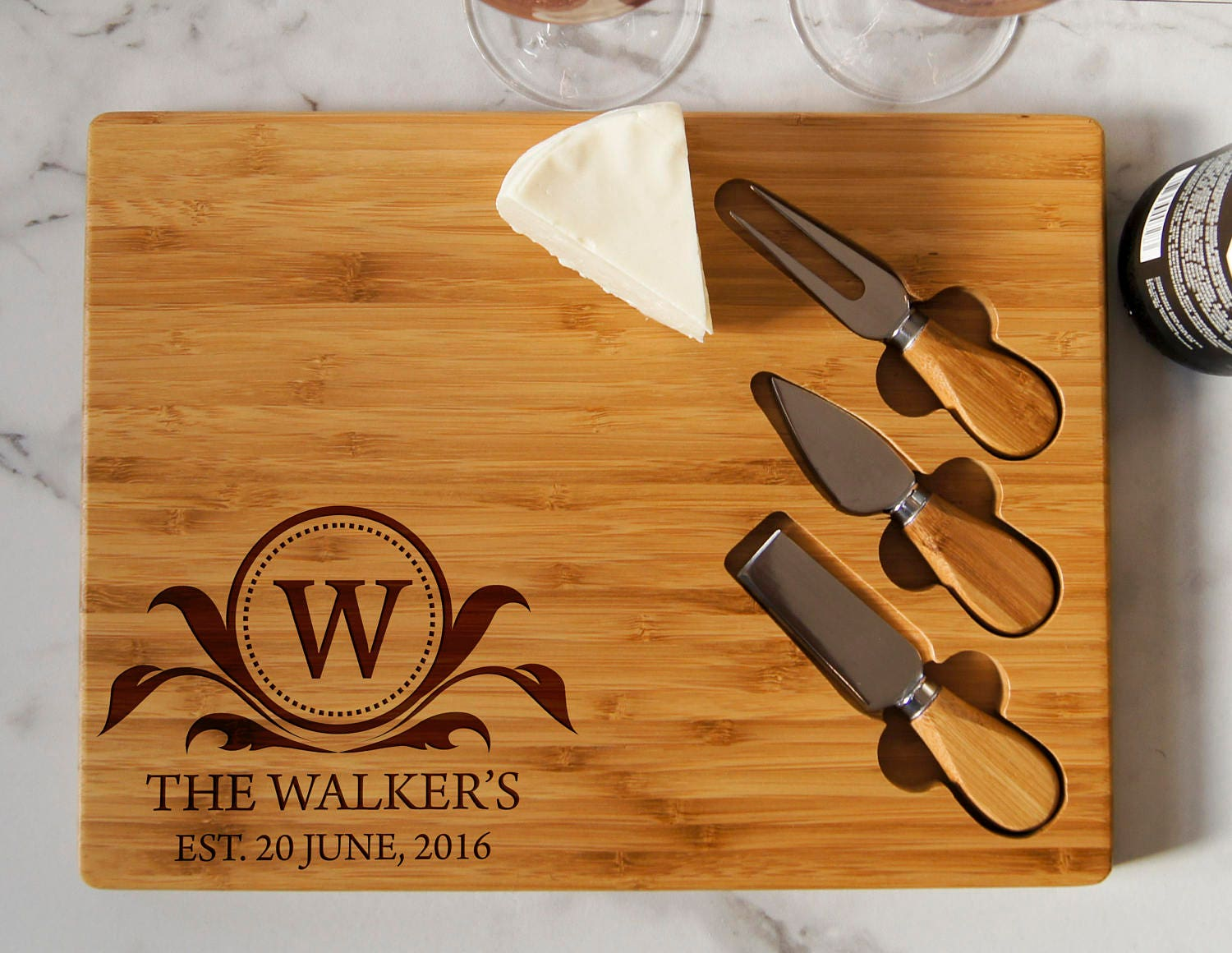 personalized cheese board set custom cheese board set engraved
