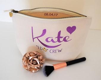 "Bridesmaids gifts, wedding favor bag, Personalized make up bag, cosmetic bags, cream Kate bag, personalised Makeup bag, ""I do Crew"""