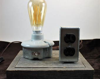 Industrial Desk Top Lamp and Charging Station on Barn wood Base / Steam Punk / Up-Cycle