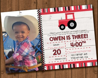 Red Tractor birthday invitation file with photo