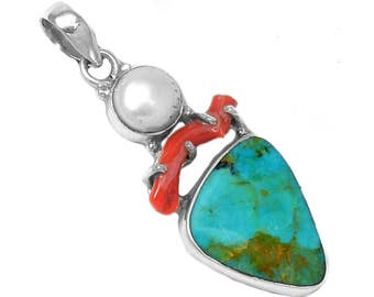 Arizona Turquoise Pendant-Natural Turquoise Pendant-Protection Amulet