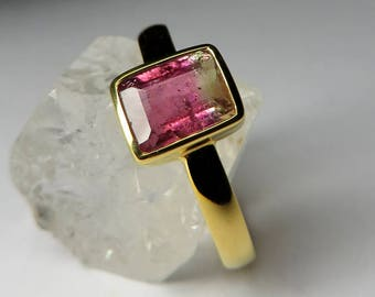Bi-color Tourmaline Gold Ring art 10338 | Natural Organic Gemstone 18K Gold Ring Fine Jewelry