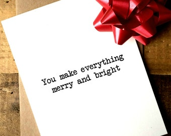 Boyfriend Christmas Card | Christmas Card Boyfriend | Husband Christmas Card | Wife Christmas Card | You make everything merry and bright