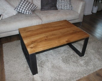 Reclaimed wood coffee table oak solid with steel frame