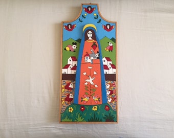 Vintage El Salvador Folk Art Painted Wood Wall Hanging