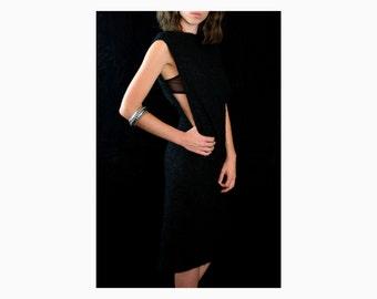 1960's Black Dress, Vintage Boucle Evening Dress - Mid-Length, Open Back, Open Side