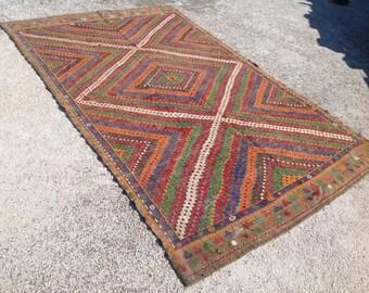 """Kilim rug, Embroidered Kilim rug, 127"""" x 78"""", area rug, kilim, kelim rug, vintage rug, bohemian rug, orange rug, rustic living room, 429"""