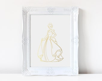 Cinderella Inspired - Disney Inspired - Princess - Cinderella - Real Foil - Foil Art - Gold Foil - Hand Drawn - Decor - Print - Foil Print