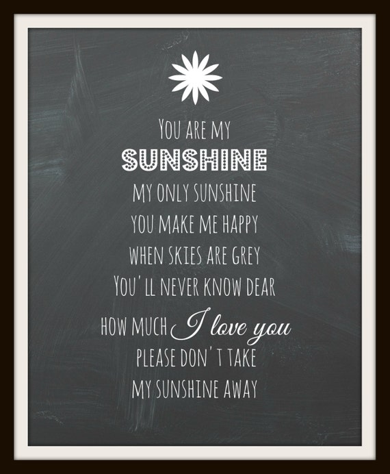 You Are My Sunshine, Chalkboard Print, Unique Baby Shower Gift, Instant Download, Framable Print