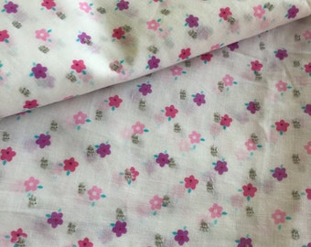 Dainty floral fabric,self dobby weave, Pink floral, Tiny flower prints, Broken thread overlap weave,lightweight cotton, mulmul fabric, SS18