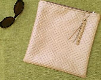 Metallic gold textured vegan faux leather clutch, fold over, bag, zip bag, grab bag, sack bag, purse