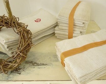 Beautiful vintage French linen towels made in France....CHARMANT!