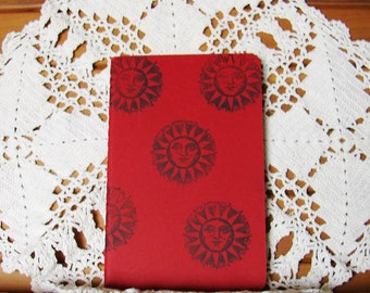 Moleskine Cahier Journal-Cranberry Red - Hand-Stamped Sun