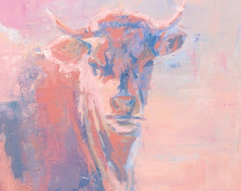 "French Cow ORIGINAL ACRYLIC PAINTING on canvas 24"" x 24"""