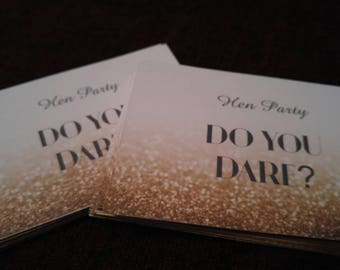Rose gold Bridal / Bachelorette/ hen party drinking dare cards hen do gift set of 50 rude and fun