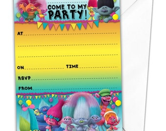20 x Glossy Party Invitations inspired by Trolls with 20 x free envelopes ponies birthday