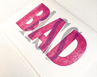BAD ASS - Wood Block Print Typography Greeting Card