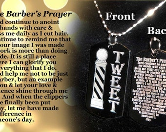 Barber's Prayer Dog tag Necklace or Key Chain + FREE ENGRAVING