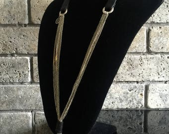 Women Necktie necklace with leather
