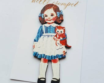 LITTLE KITTY wooden lasercut vintage girl cat valentines brooch pin cute retro