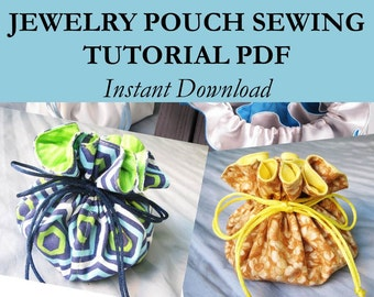 Sewing Pattern PDF, Travel Jewelry Pouch Tutorial, PDF Sewing Patterns, Drawstring Bag, Jewelry Travel Bag, Drawstring Pouch Digital Pattern