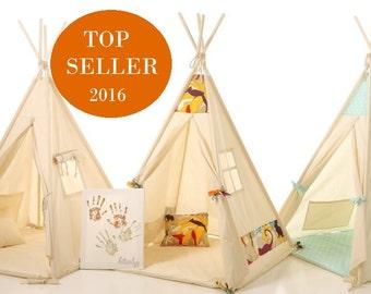 Les enfants tipi tente tipi pour Noël, coton naturel tipi pour enfants Tipi jouer tente enfants Playhouse - cadeau de Noël