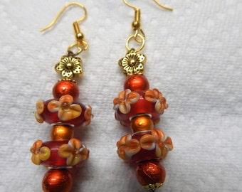 Lampwork beaded earrings