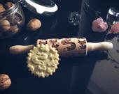 FOX, SMALL  rolling pin, embossing rolling pin, engraved rolling pin by laser