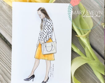 "5"" x 7"" Custom Fashion Illustration"