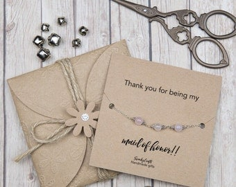 Bridal shower gifts - rose quartz bracelet - gifts under 20 - maid of honor gifts - gifts for her - personalised gifts - sterling silver