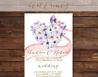 Gold Printable Wedding Invitation, Country Wedding Invite, Floral Wreath Wedding Invitation Printable, Rustic Wedding Invite, Boho Wedding