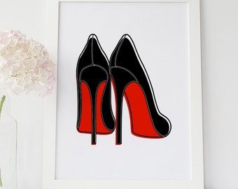 Christian Louboutin Shoes, High Heels Shoes, Shoes Fashion Illustration, Shoes Wall Art, Shoes Fashion Decor, Red Bottom Sole Shoes Print
