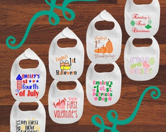 Personalized Baby's First Year Hoilday Bibs