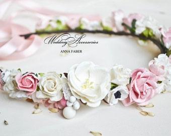 Bridal flower crown, Bridal floral crown, Floral wedding crown, Wedding flower heapiece, Wedding flower crown Pink.