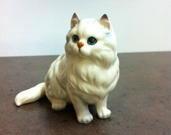 Vintage Cat Figurine - White Persian Kitten Ornament - Stamped and Numbered - Purrrfect Gift for the Collector