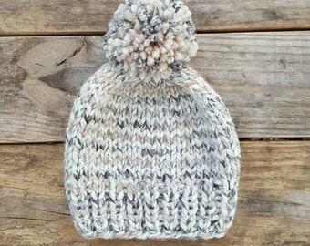 Knitting Pattern - Slouchy Beanie, Knit Hat, Toque, Pom Pom Hat, Birch Beanie