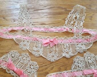 Inset lace bobbin for shirt top / bottom of panties - 12547