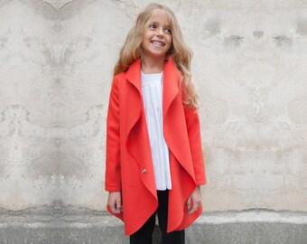 Girls shawl collar coat/High neck wool coat/High collar girls coat/Cocoon coat/Cozy coat/Kids coat/Wrap coat/Toddler girls long coat