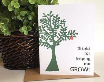 Teacher Thank You - Teacher Appreciation - Thank You for Helping me Grow - Teacher Card - Grow - Tree - Apple - Thank You Card - Teacher