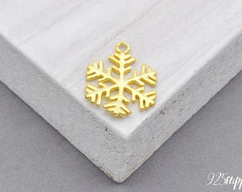 925 Sterling Silver Snowflake plated with gold, Silver snowflake Charm, Bracelet snowflake, Silver snowflake, snowflake Charm, snowflake,