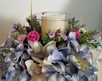 Floral Candle Holder, Floral Candle Arrangement, Table Decorations, Candle Holder, Floral Table Decorations, Mantel Decorations,