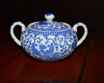 Noritake Blue and White Flying Phoenix Flying Turkey Sugar Bowl Made In Japan