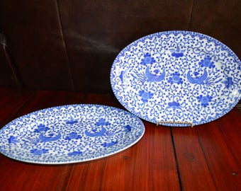 """Blue and White Phoenix or Flying Turkey 11.25"""" Serving Platters Made in Japan Set of 2"""